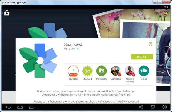 SnapSeed Download with BlueStacks