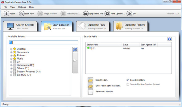 Duplicate File Cleaning Search Location