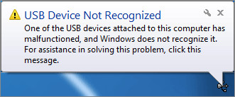 USB Device Not Recognized Error Fixed