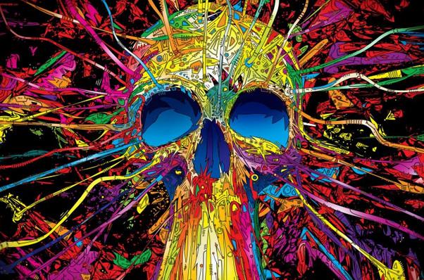 Trippy Skull Wallpaper