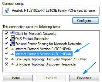 Selecting Internet Protocol Version 4
