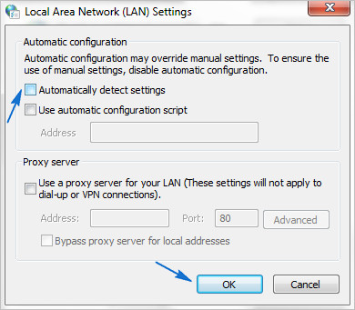 Disabling Automatically Detected Settings