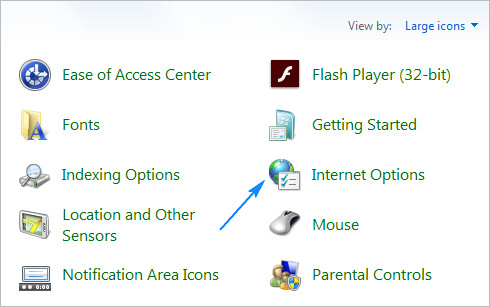 Internet Options Window