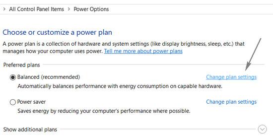 changing power plan