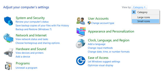 selecting icon view