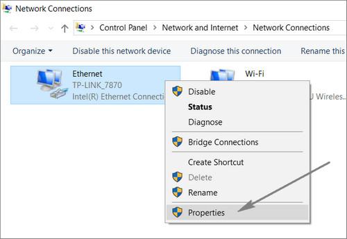 Network Properties windows